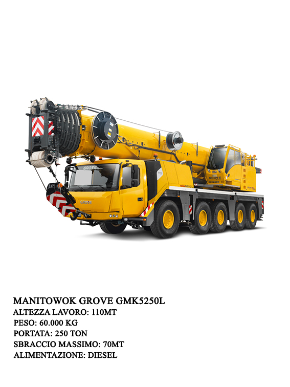 The 250 t Grove Grove GMK5250L uses the most powerful reach and load chart of all five-axle cranes. Added to this is the best possible maneuverability and maximum driving comfort, offered thanks to the integration of a VIAB turbo clutch and an incorporate