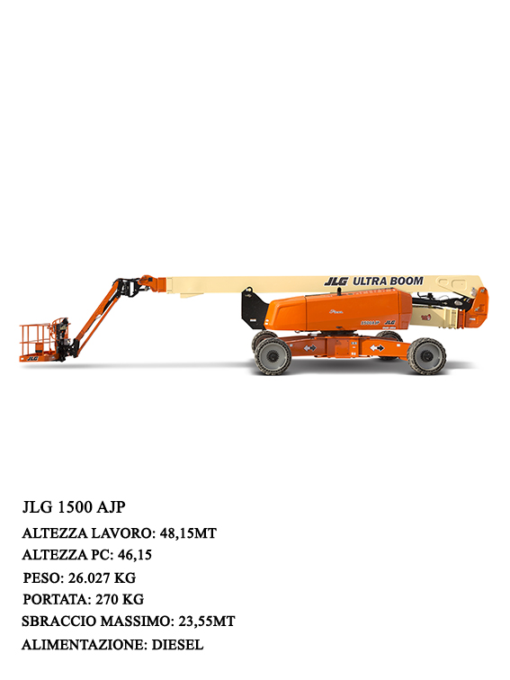 With the JLG1500 AJP, the articulated axles driven by cylinders create a large support surface and position themselves in about 1 minute. You can drive with the platform at maximum height in complete safety for the operator who, thanks to the LCD display