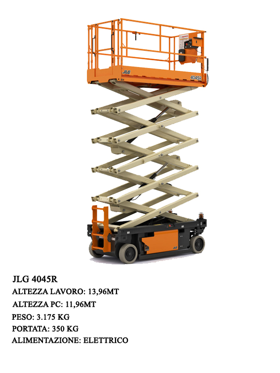 JLG's new 4045R electric scissor is characterized by a 1.14 m width that allows it to move with particular agility and precision even in confined spaces, both during translation and elevation.