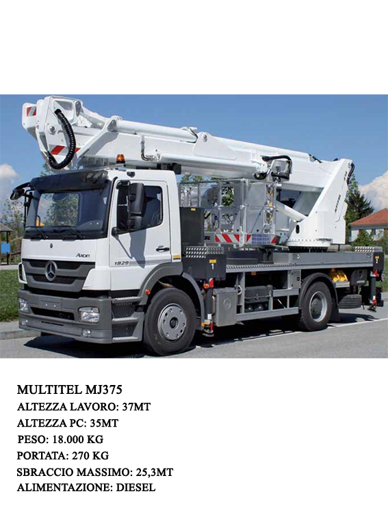The machine has a Diesel engine and is able to reach a maximum height of 37mt through a basket with a maximum capacity of 500 Kg and a maximum outreach of 25 meters with 120 Kg.
